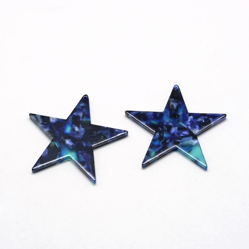 PandaHall_Cellulose_AcetateResin_Pendants_Star_MidnightBlue_205x21x25mm_Hole_15mm_Cellulose_Acetate_Star_Blue