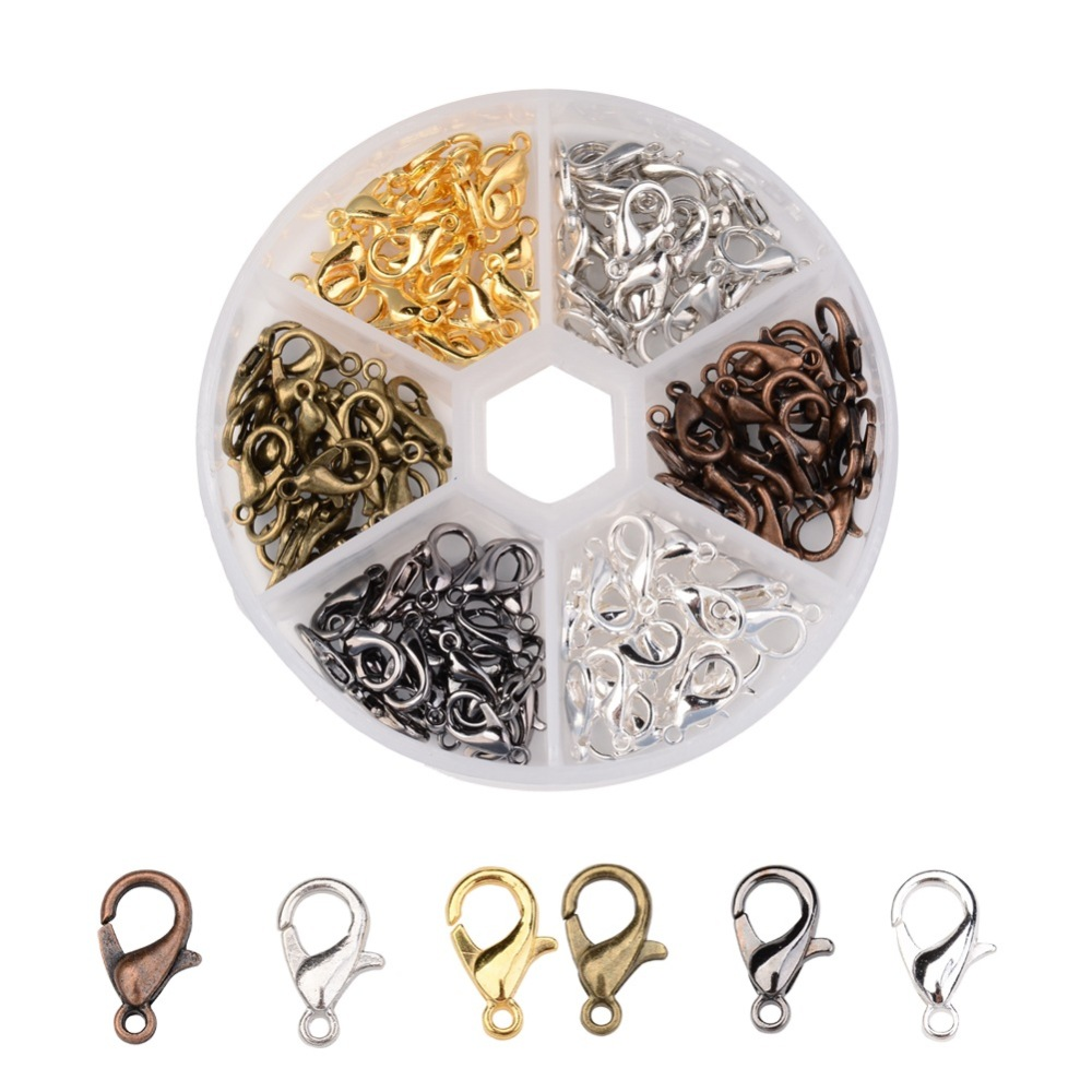 PandaHall_1_Box_120PCS_6_Colors_Zinc_Alloy_Lobster_Claw_Clasps_Nickel_Free_Mixed_Color_12x7mm_Hole_12mm_about_20pcscompartment_Alloy