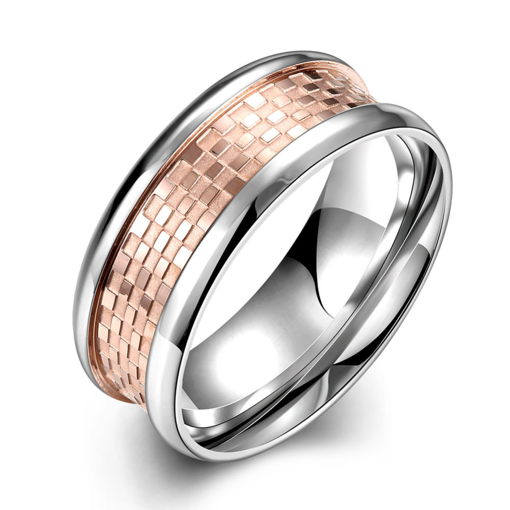 PandaHall_Fashionable_316L_Titanium_Steel_Wide_Band_Rings_for_Men_Rose_Gold_&_Stainless_Steel_Color_Size_9_189mm_Titanium_Steel
