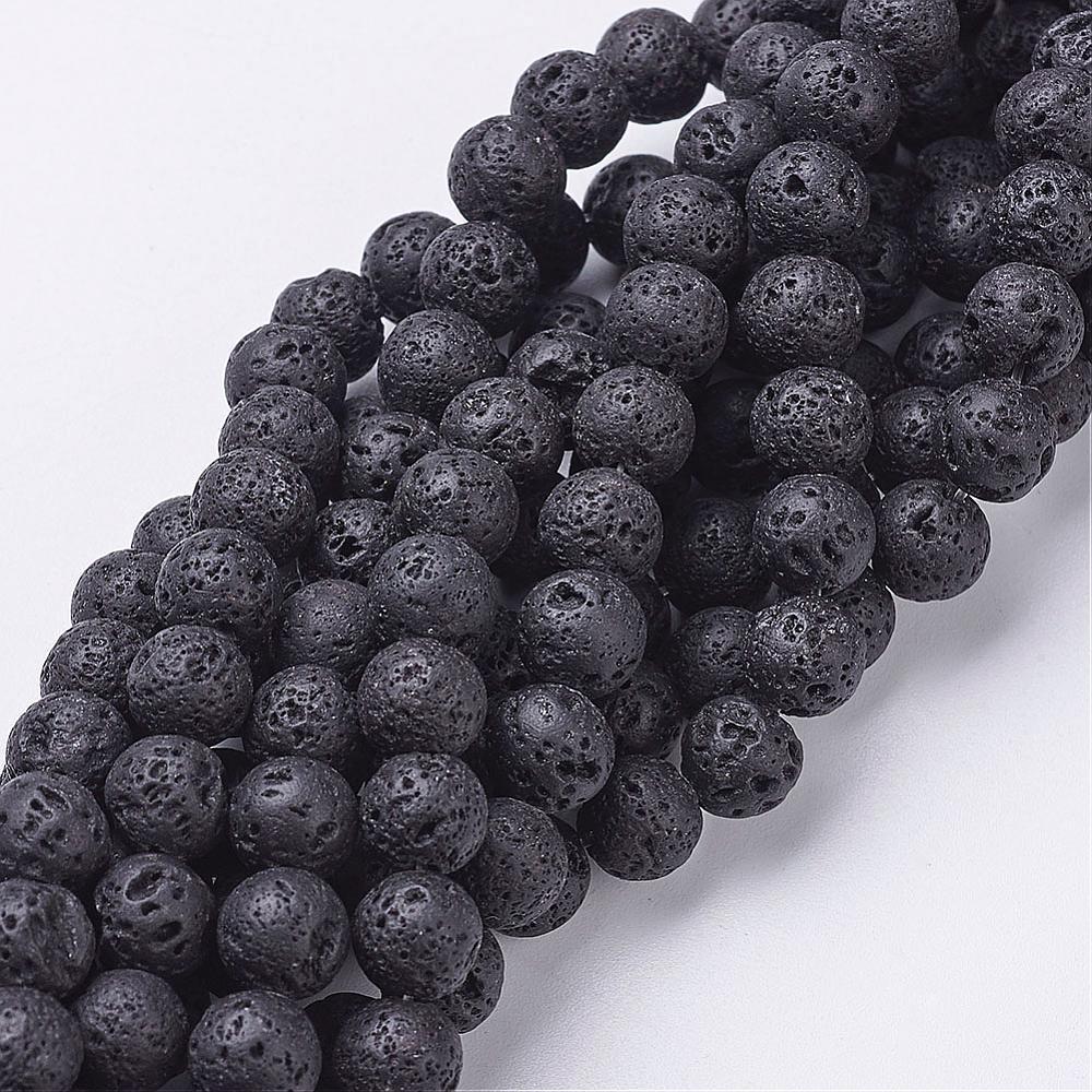PandaHall_Natural_Lava_Beads_Strands_Round_Black_8mm_Hole_1mm_Lava_Round_Black