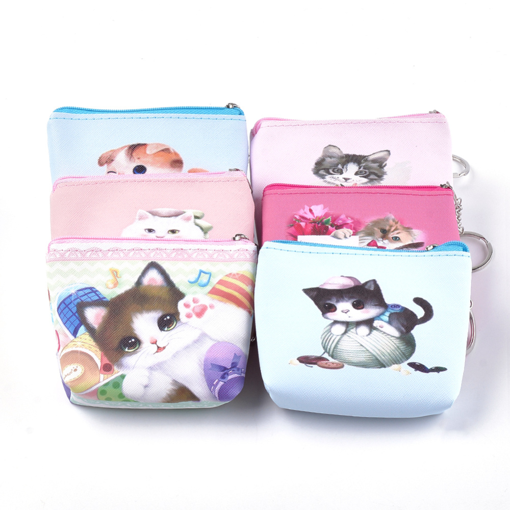 PandaHall PVC Clutch Bags, Change Purse, with Iron Ring, Cat Pattern, Mixed Color, 93~95x103~109x22~24mm Plastic Multicolor (ABAG-S005-04C 1763045) photo