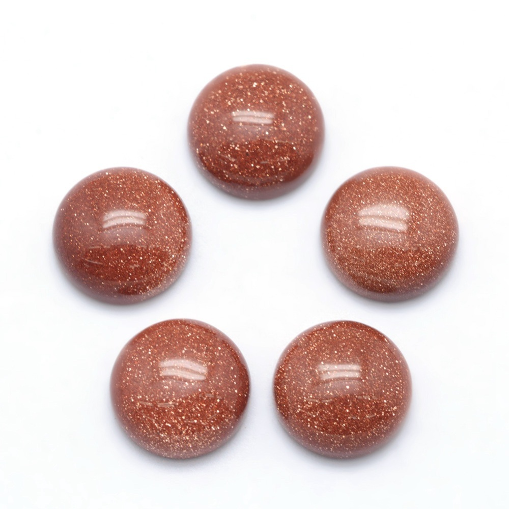 PandaHall Synthetic Goldstone Cabochons, Half Round, 12x5~6mm Goldstone Half Round