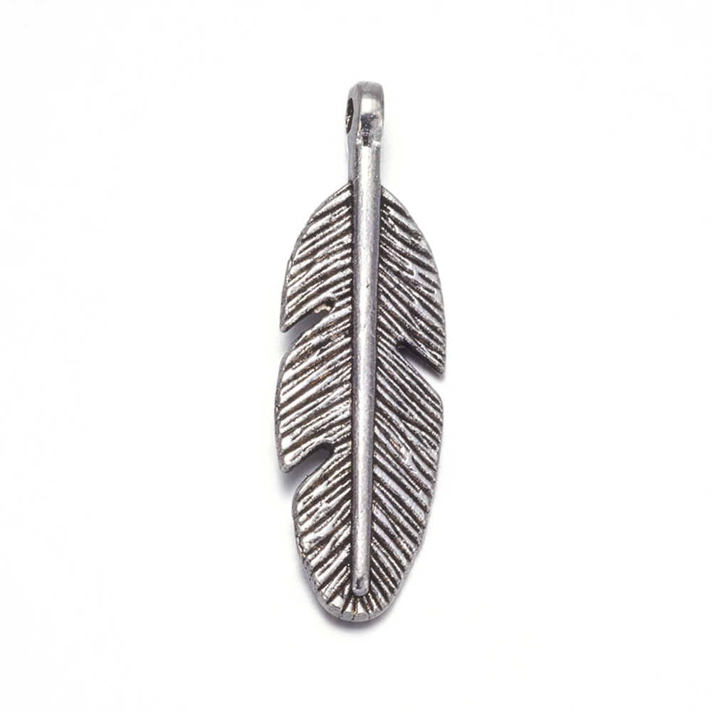 PandaHall_Feather_Antique_Silver_Tone_Tibetan_Silver_Pendants_Lead_Free_&_Cadmium_Free_about_30mm_long_9mm_wide_2mm_thick_Hole_2mm