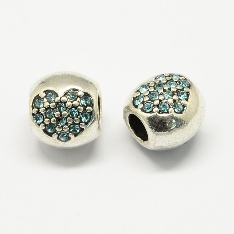 PandaHall Alloy Rhinestone European Beads, Drum Large Hole Beads, Aquamarine, 11x9.5x10mm, Hole: 4.5mm Alloy+Rhinestone Drum