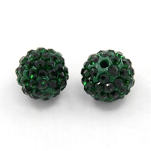 PandaHall DIY Pave Disco Ball Beads, Polymer Clay Grade A Rhinestone Beads, Round, Emerald, 10mm, Hole: 1.2~1.7mm Polymer Clay+Glass...