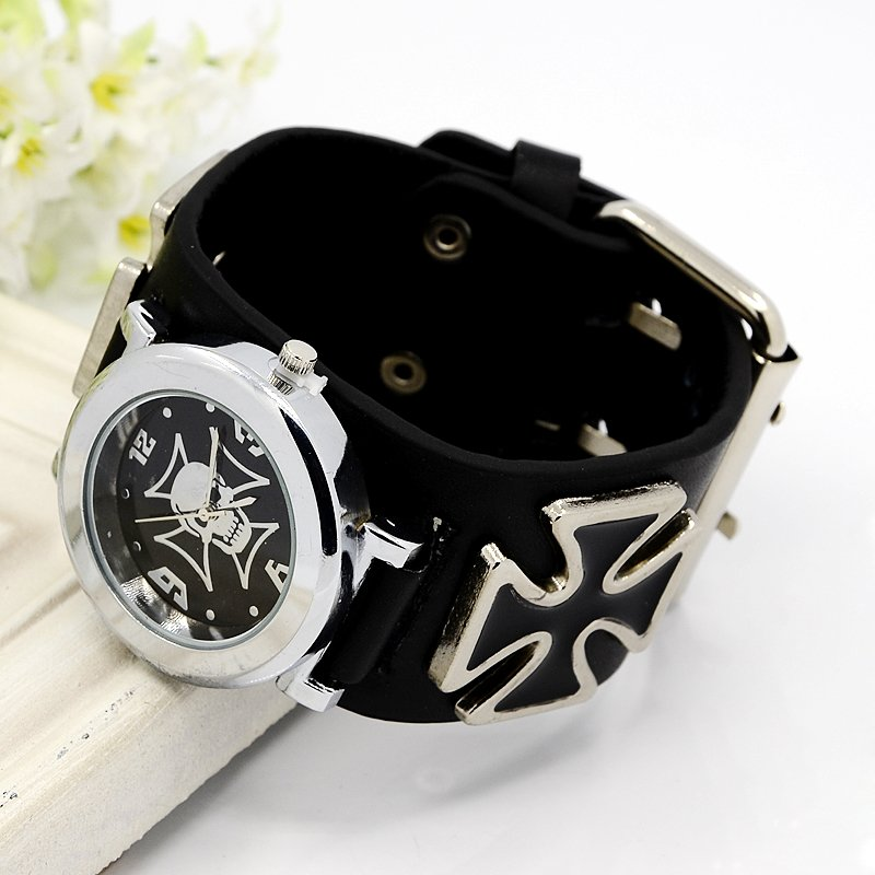 PandaHall Fashionable PU Leather Wristwatch, with Alloy Watch Components and..