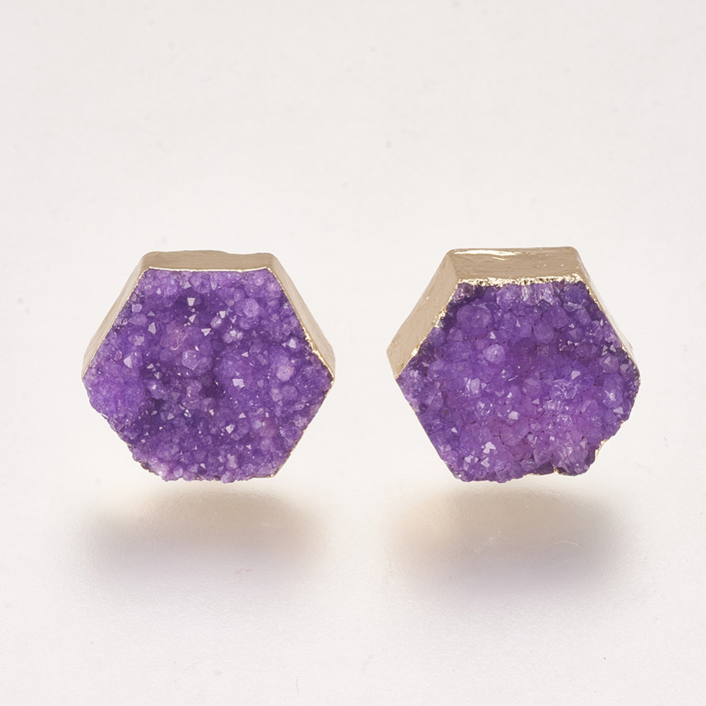 PandaHall_Natural_Dyed_Druzy_Crystal_Stud_Earrings_with_Brass_Findings_Hexagon_BlueViolet_12~125x135~14x5~8mm_Pin_08mm_Quartz