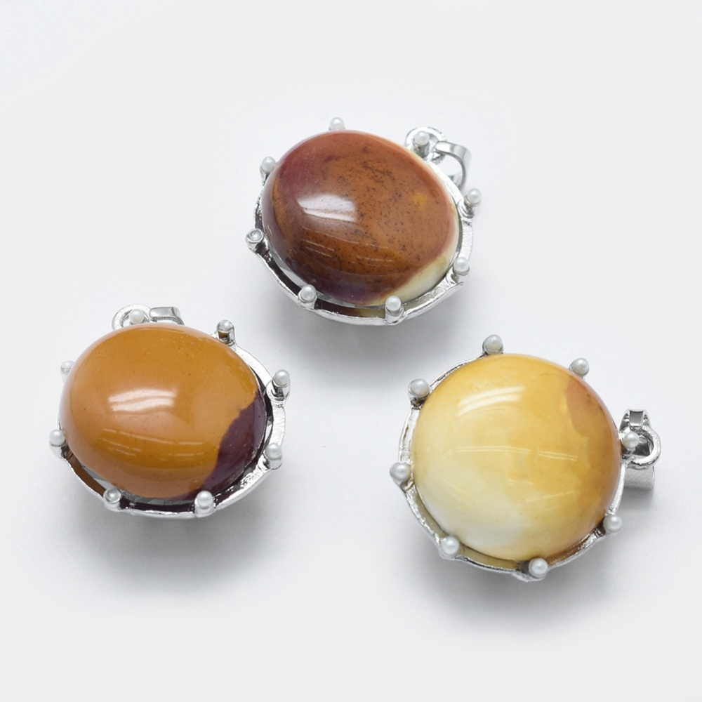 PandaHall_Natural_Mookaite_Pendant_with_Acrylic_Pearl_and_Alloy_Findings_Flat_Round_Platinum_27x24x15~155mm_Hole_35x6mm_Mookaite