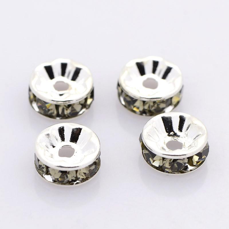 PandaHall Brass Rhinestone Spacer Beads, Grade A, Straight Flange, Silver Me..