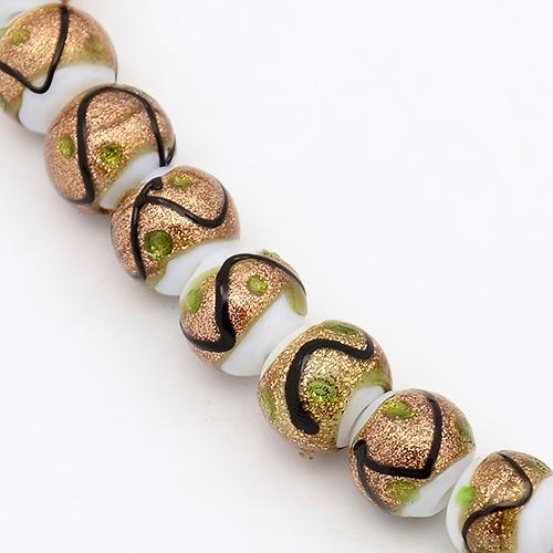 PandaHall Handmade Gold Sand Lampwork Beads Strands, Round, White, 8mm, Hole..