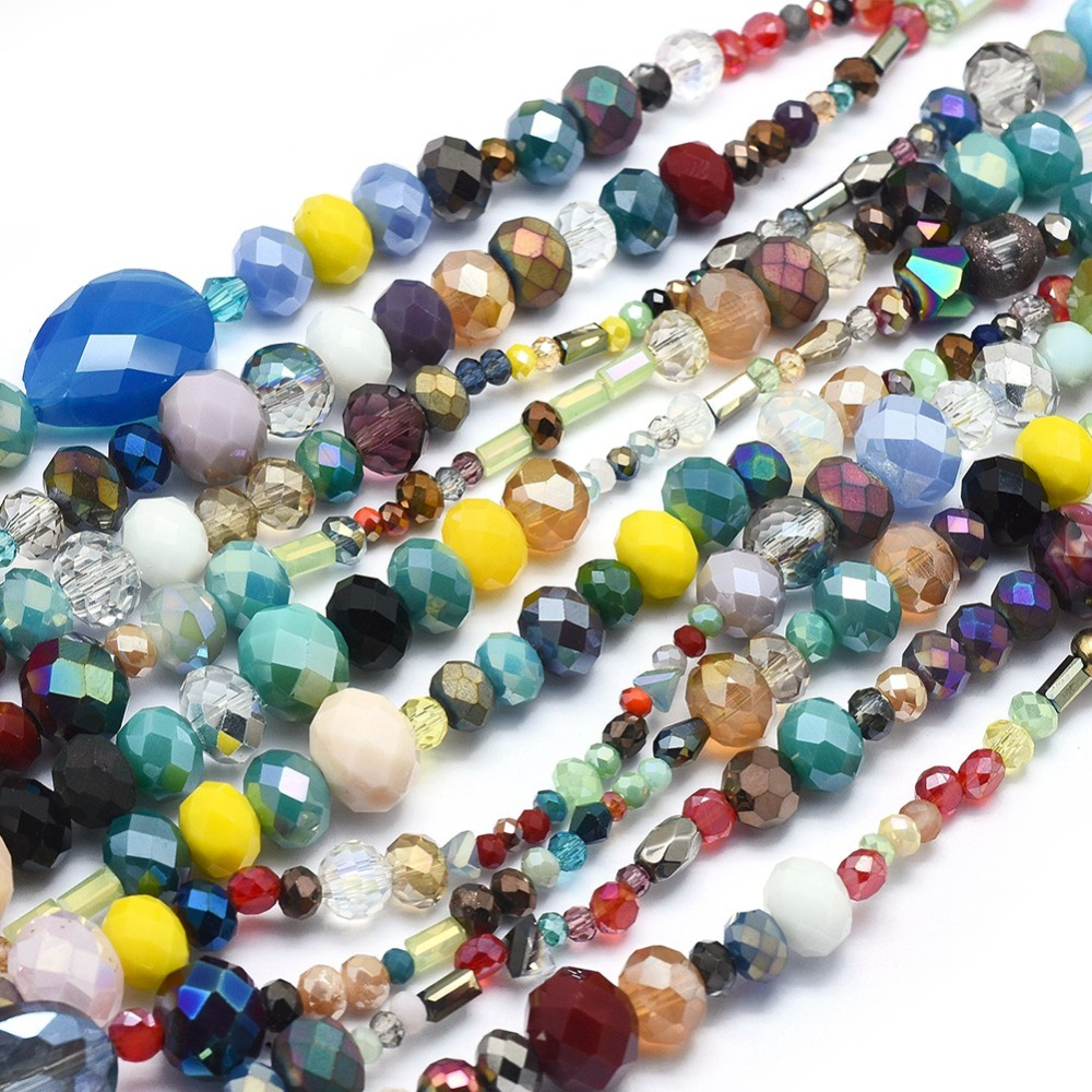 PandaHall_Mixed_Electroplate_Glass_Beads_Strands_Faceted_Mixed_Color_2~15x25~135mm_Hole_05mm_about_85~100pcsstrand_155~157