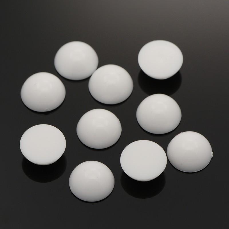 PandaHall Half Round Acrylic Cabochons, White, 12x5.5mm, about 1000pcs/bag Acrylic Half Round White