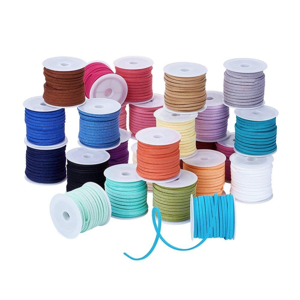 PandaHall_Faux_Suede_Cord_Faux_Suede_Lace_Mixed_Color_3x15mm_about_5mroll_25rollsbag_Suede_Multicolor