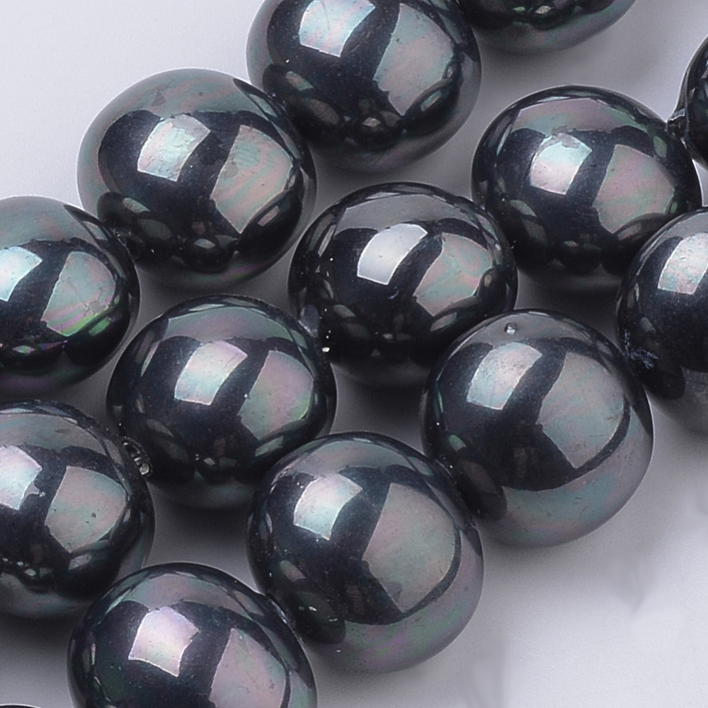PandaHall_Shell_Pearl_Beads_Strands_Oval_Black_145x13x12mm_Hole_1mm_about_30pcsstrand_167_Shell_Pearl_Oval_Black