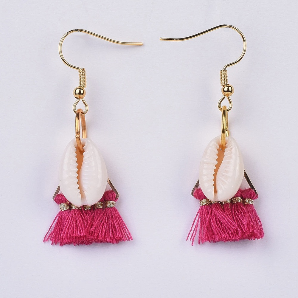 PandaHall_Polyester_Cotton_Tassel_Dangle_Earrings_with_304_Stainless_Steel_Earring_Hooks_and_Cowrie_Shell_Beads_Golden_Camellia_49~52mm