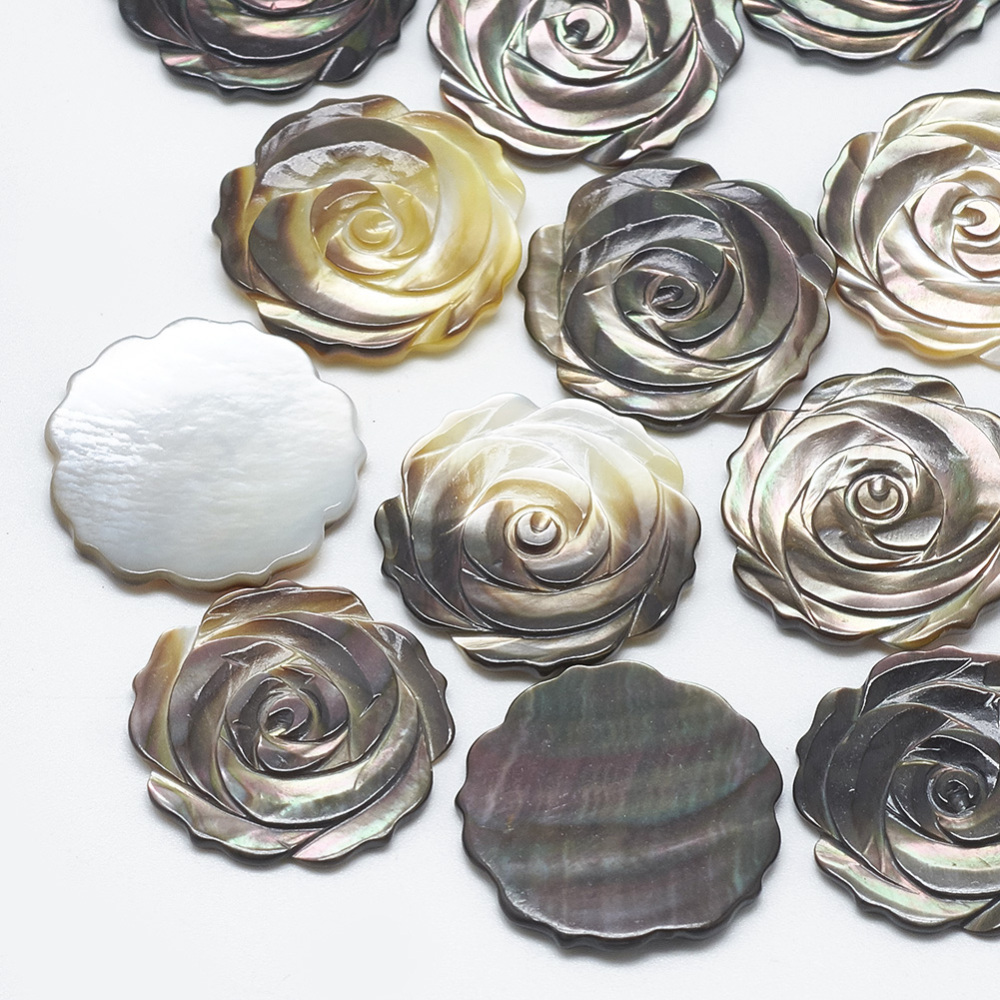 PandaHall_Black_Lip_Shell_Cabochons_Flower_Black_215x22x15~25mm_Black_Lip_Shell_Flower_Black