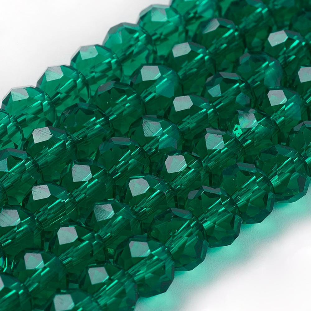 PandaHall_Handmade_Glass_Beads_Faceted_Rondelle_SeaGreen_8x6mm_Hole_1mm_about_72pcsstrand_Glass_Rondelle_Green