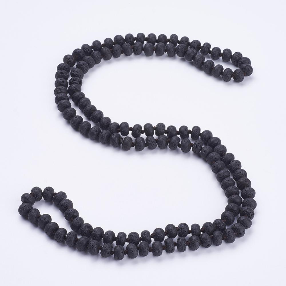 "PandaHall_Natural_Lava_Beaded_Multi-use_Necklaces_Wrap_Bracelets,_Three-Four_Loops_Bracelets,_Abacus,_37.4""(95cm)_Lava"