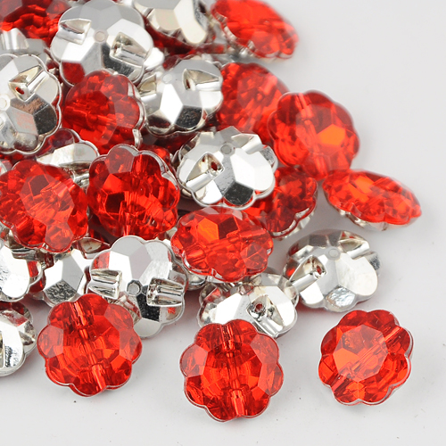 PandaHall_Taiwan_Acrylic_Rhinestone_Buttons_Faceted_1Hole_Flower_Cerise_28x105mm_Hole_2mm_Acrylic_Rhinestone_Flower_Red