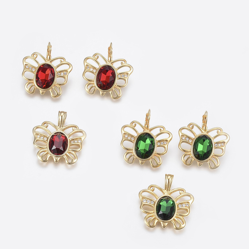 PandaHall_304_Stainless_Steel_Jewelry_Sets_Pendants_and_Leverback_Earrings_with_Glass_Rhinestone_Butterfly_with_Oval_Golden_Mixed_Color