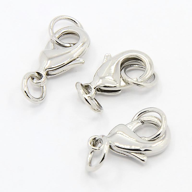PandaHall Grade AA Brass Lobster Claw Clasps, with Two Jump Rings, Cadmium Free & Nickel Free & Lead Free, Platinum, 10x6x2.5mm, Hole: 3.5mm...