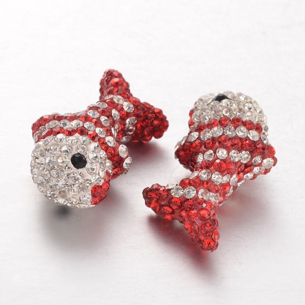 PandaHall_Handmade_Polymer_Clay_Rhinestone_Beads_Fish_Colorful_28x16x11mm_Hole_1mm_Polymer_ClayGlass_Rhinestone_Fish