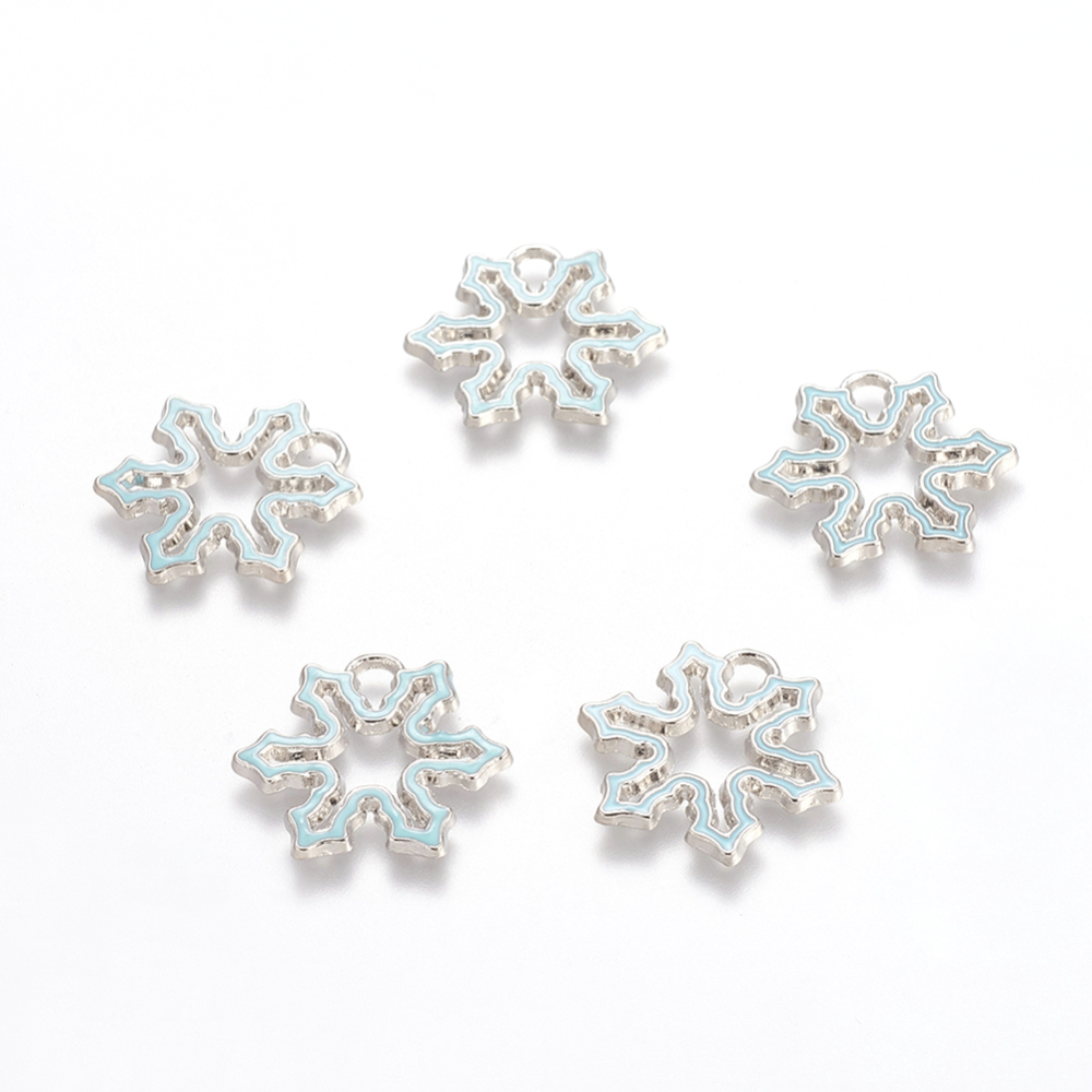PandaHall Alloy Pendants, Lead Free and Cadmium Free, Enameled, Christmas Snowflake, Blue, Platinum Metal Color, 23mm long, 25mm wide, 2mm...