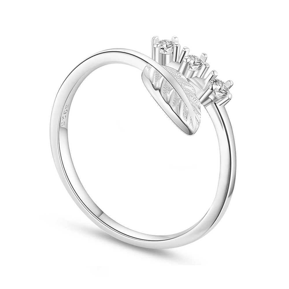 PandaHall SHEGRACE® Simple Delicate Sterling Silver Cuff Ring, with Micro..
