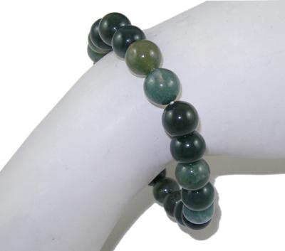 PandaHall Gemstone Bracelet, Moss Agate, about 5.2cm inner diameter; Bead: 8mm in diameter, 22pcs/Strand Moss Agate Green