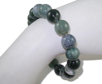 PandaHall Gemstone Bracelet, Moss Agate, about 5.2cm inner diameter; Bead: 10mm in diameter, 19pcs/Strand Moss Agate Green