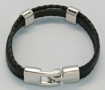 PandaHall_Multi-strand_Leather_Cord_Bracelets,_with_Alloy_Findings_and_Clasps,_Black,_205x11mm_Imitation_Leather_Black