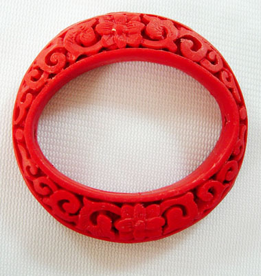 PandaHall Cinnabar Beads, Carved Lacquerware, Ring, Red, outside: 50mm long, 49mm wide, inside: 40mm long, 28mm wide, 9mm thick, hole: 2mm...
