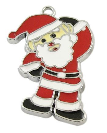 PandaHall Alloy Enamel Pendants, Lead Free & Cadmium Free, Christmas Santa C..