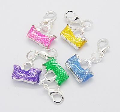 PandaHall Alloy Enamel Pendants, with Brass Lobster Claw Clasps, Handbag, Si..