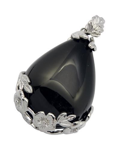 PandaHall Natural Black Agate Pendants, with Alloy Findings, Drop, Black, 40x27x8mm, Hole: 5x4mm Black Agate Drop Black
