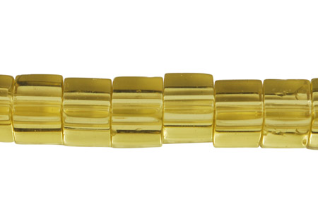 PandaHall Glass Beads Strands, Cube, Yellow, about 6~7mm long, 6~7mm wide, 6~7mm thick, hole: 1mm; about 55pcs/strand Glass Cube Gold