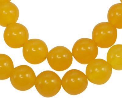 PandaHall Gemstone Beads Strands, Natural White Jade, Dyed, Round, Gold, 12m..