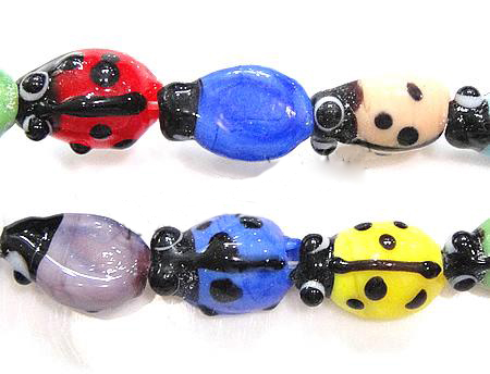PandaHall Handmade Lampwork Beads Strands, Ladybug, Colorful, Size: about 7~..