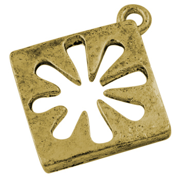 PandaHall Alloy Pendants, Lead Free and Cadmium Free, Antique Golden, Rhombus, 18mm long, 18mm wide, 2mm thick, hole: 2mm Alloy Diamond