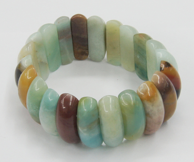 PandaHall_Natural_Amazonite_Faceted_Beads_Stretch_Bracelets,_Colorful,_50mm_Amazonite