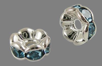 PandaHall Brass Rhinestone Spacer Beads, Grade A, Wavy Edge, Silver Metal Co..