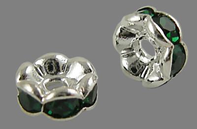 PandaHall Brass Rhinestone Spacer Beads, Grade AAA, Wavy Edge, Nickel Free, ..