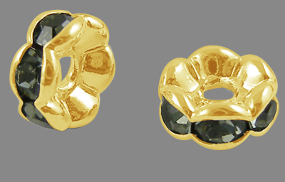 PandaHall Brass Rhinestone Spacer Beads, Grade A, Wavy Edge, Golden Metal Co..