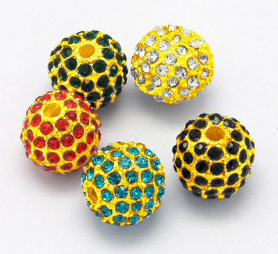 PandaHall Alloy Rhinestone Beads, Grade A, Round, Golden Color, Mixed Color ..