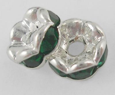 PandaHall Brass Rhinestone Spacer Beads, Grade A, Emerald Rhinestone, Silver..