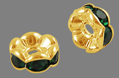 PandaHall Brass Rhinestone Spacer Beads, Grade A, Rondelle, Golden and Nicke..