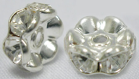 PandaHall_Rhinestone_Spacer_Beads_Grade_ABrass_Rondelle_Silver_Sizeabout_6mm_in_diameter_hole1mm_BrassRhinestone_Rondelle_Clear