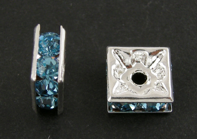 PandaHall Brass Rhinestone Beads, Grade A, Square, Nickel Free, Aquamarine, ..