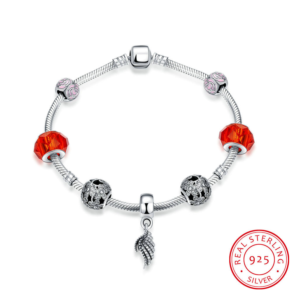 PandaHall_925_Thai_Sterling_Silver_European_Style_Bracelets,_Charm_Bracelets,_with_Enamel_and_Cubic_Zirconia,_Glass,_Wing,_Red,_Antique...