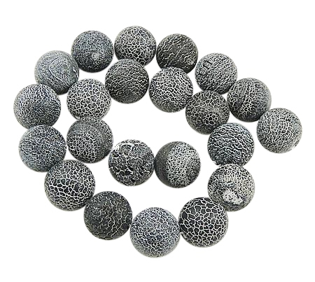 PandaHall Natural Crackle Agate Beads Strands, Dyed, Round, Grade A, Black, ..